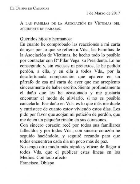 Carta del Obispo Cases